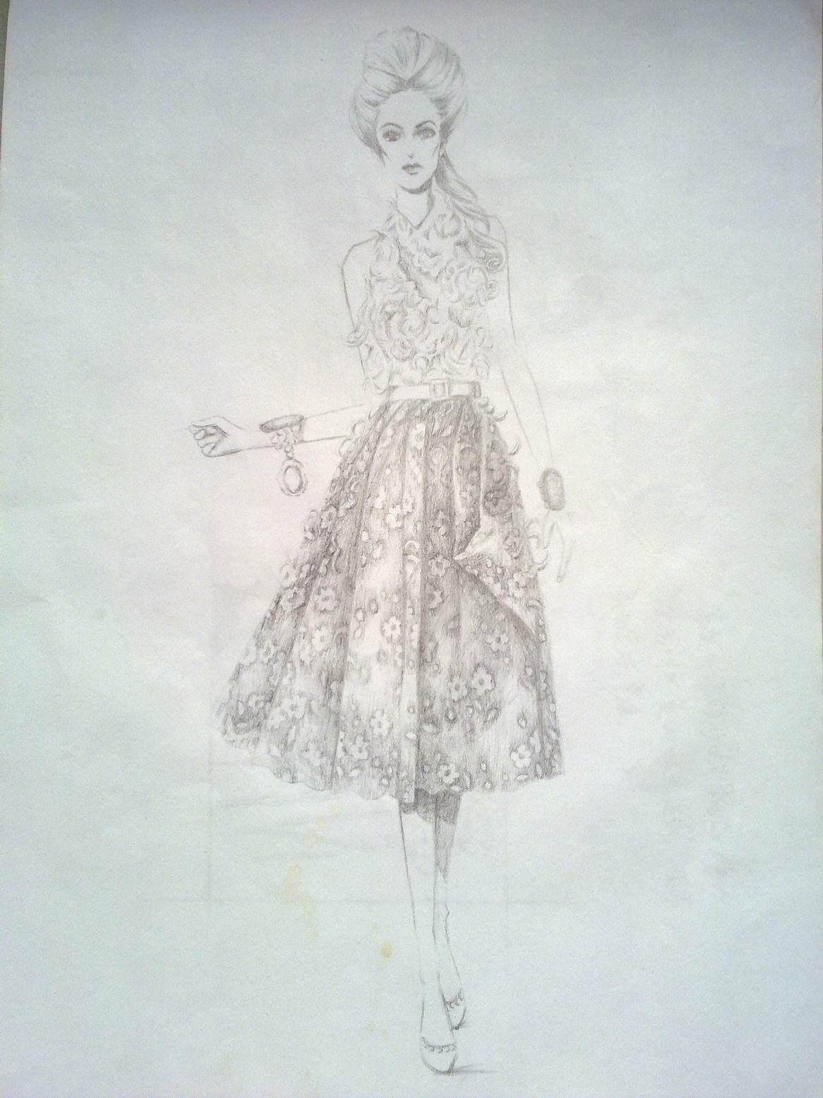 手绘女孩铅笔画头发展示